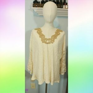 Rodeo Fox Ivory Lace Bell Sleeve Top sz 2x-3x Boho